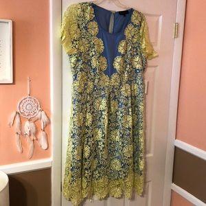 NWT Eloquii Yellow and Blue Lace Midi Dress